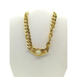 Monet Mother of Pearl Gold Tone Double Link Chain